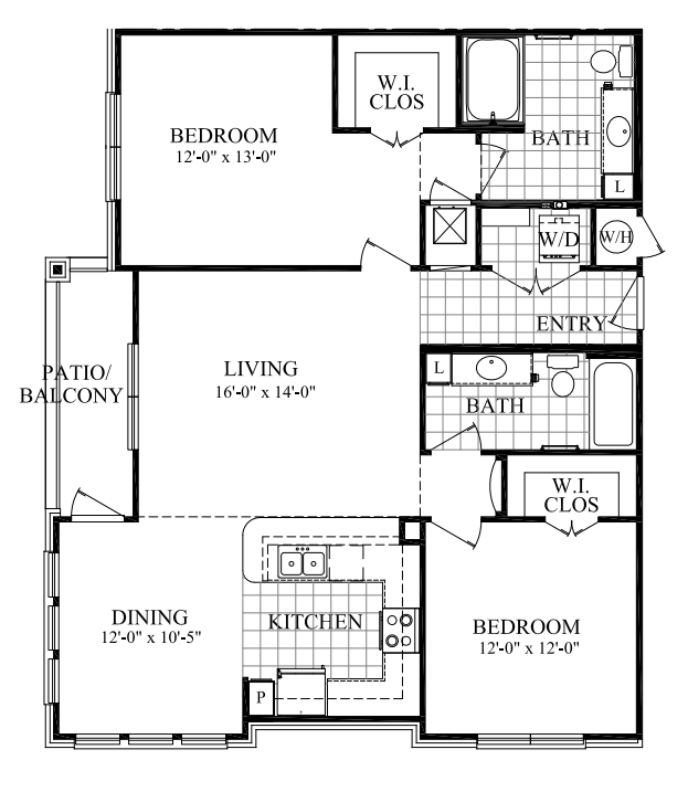 1,210 sq. ft. D floor plan