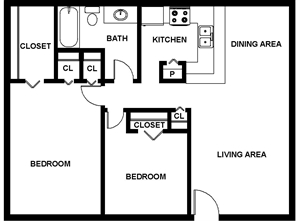 900 sq. ft. Bonelli floor plan