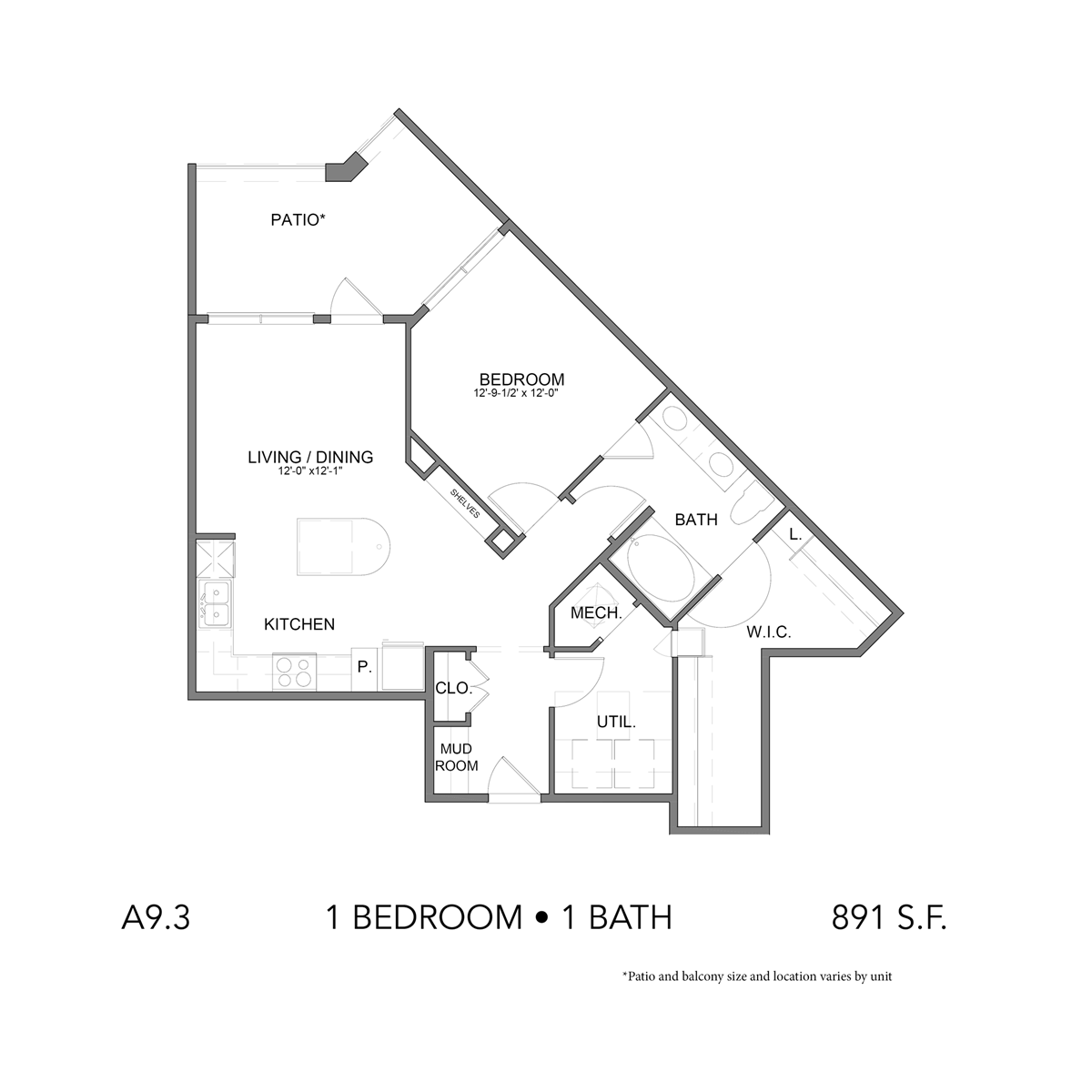 891 sq. ft. A9.3 floor plan