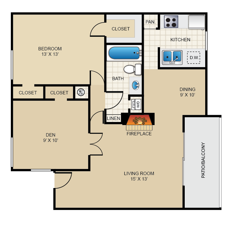 851 sq. ft. A3 floor plan