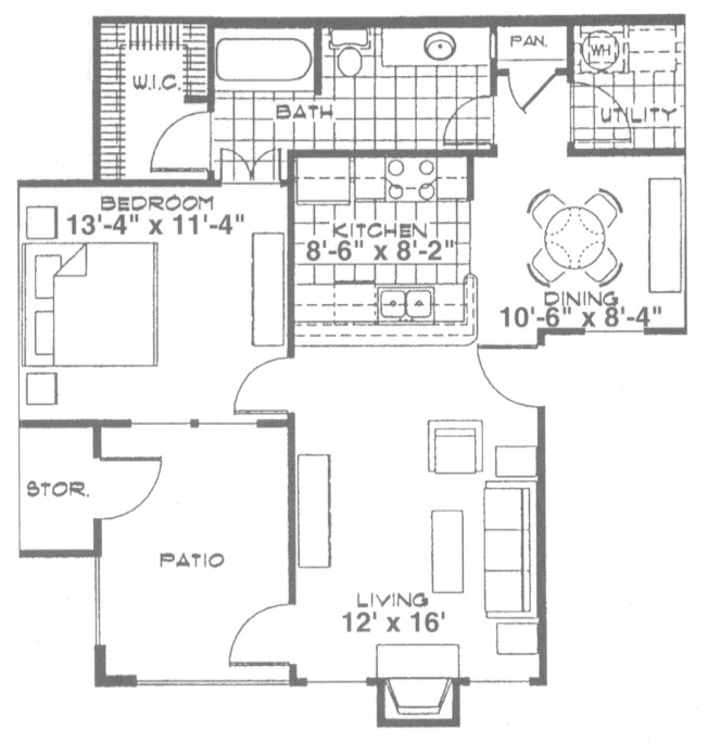 762 sq. ft. A3 floor plan