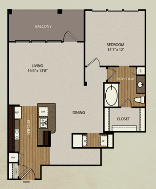 959 sq. ft. A4b floor plan