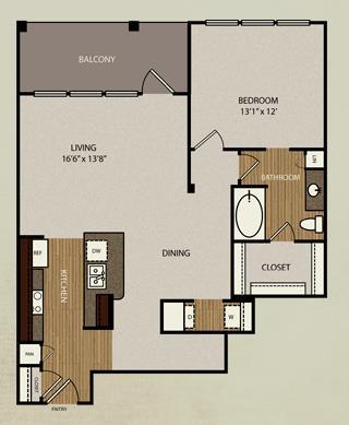 959 sq. ft. A4b floor plan