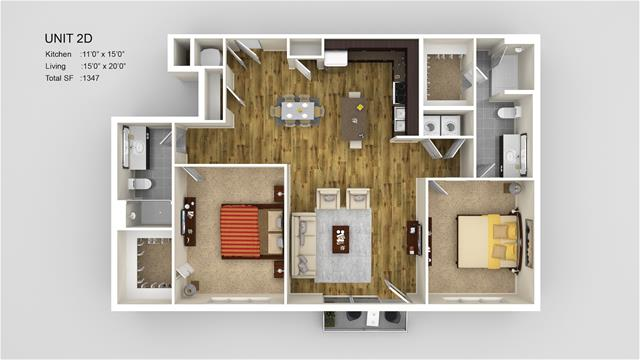 1,347 sq. ft. 2D floor plan