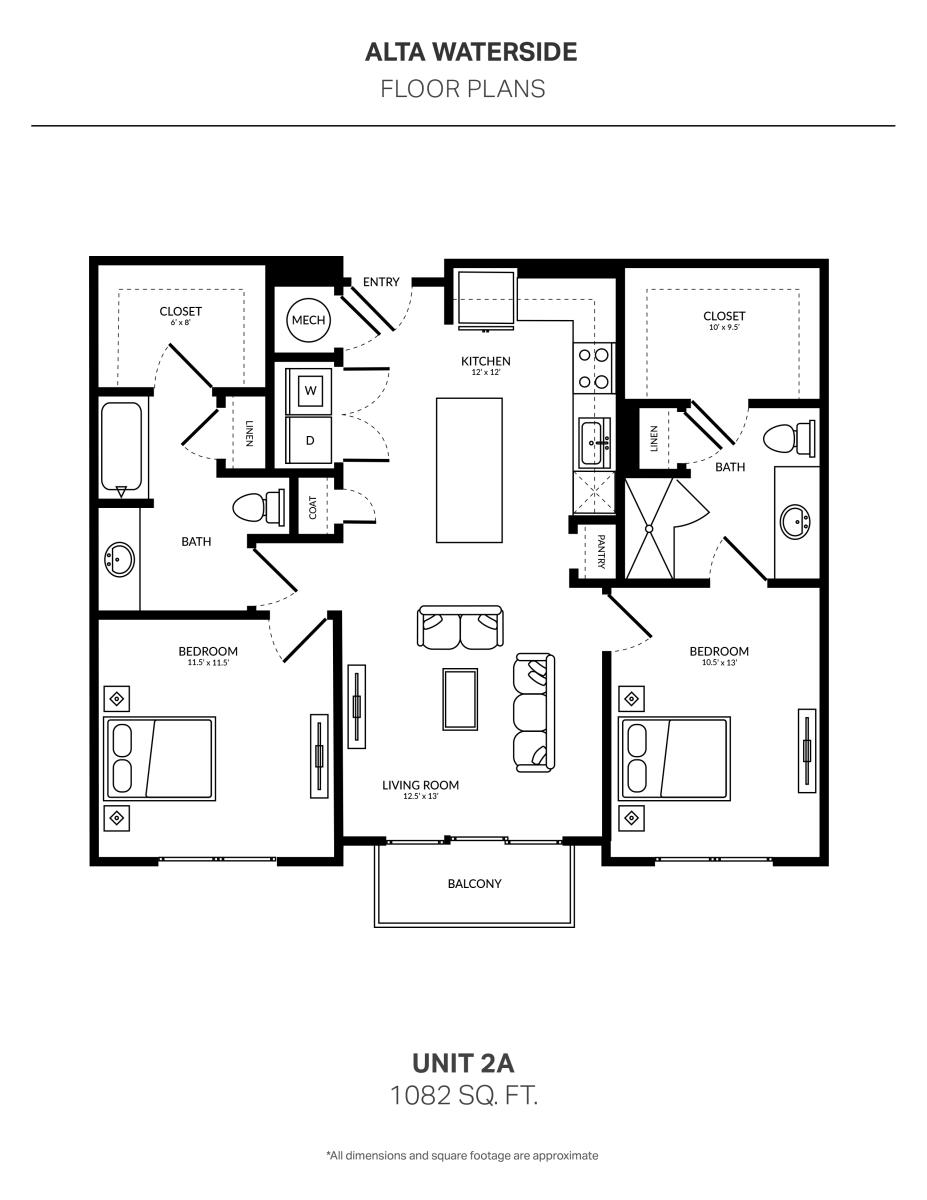 1,082 sq. ft. 2A floor plan