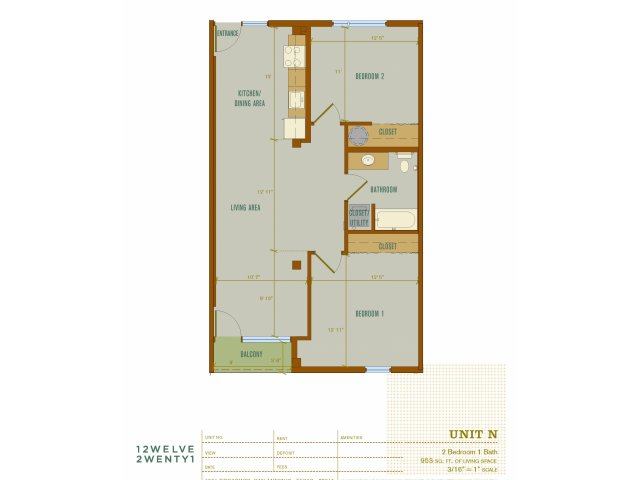 953 sq. ft. N floor plan