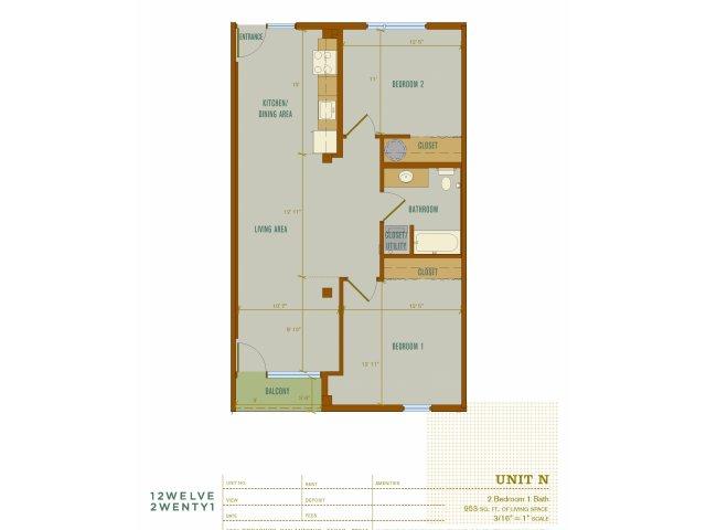 953 sq. ft. N floor plan