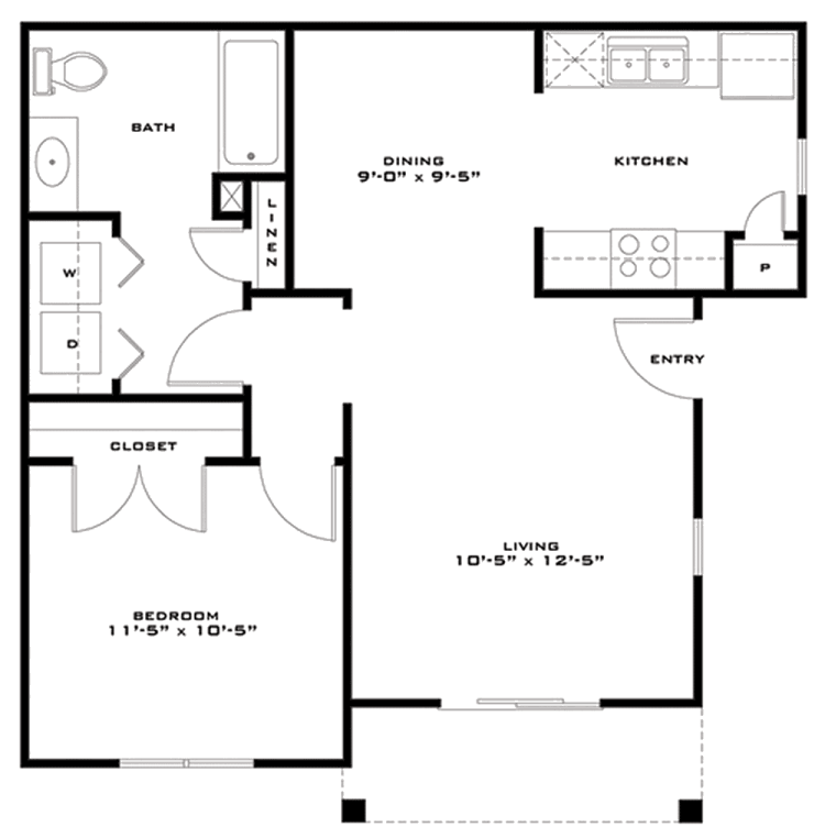 686 sq. ft. Jamison 60% floor plan