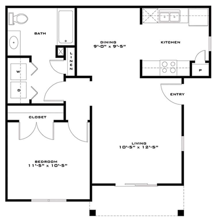 686 sq. ft. Jamison 60% floor plan