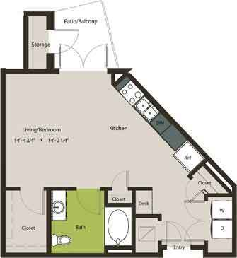 581 sq. ft. E1-HC floor plan
