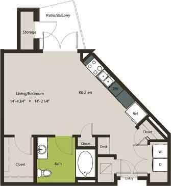 581 sq. ft. E1-HC floor plan