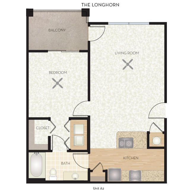748 sq. ft. Longhorn floor plan