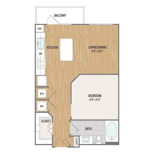 634 sq. ft. E1 floor plan