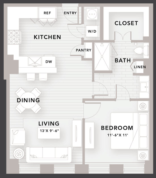 790 sq. ft. A5 floor plan