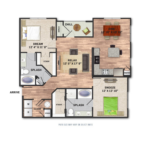 1,259 sq. ft. B2 floor plan