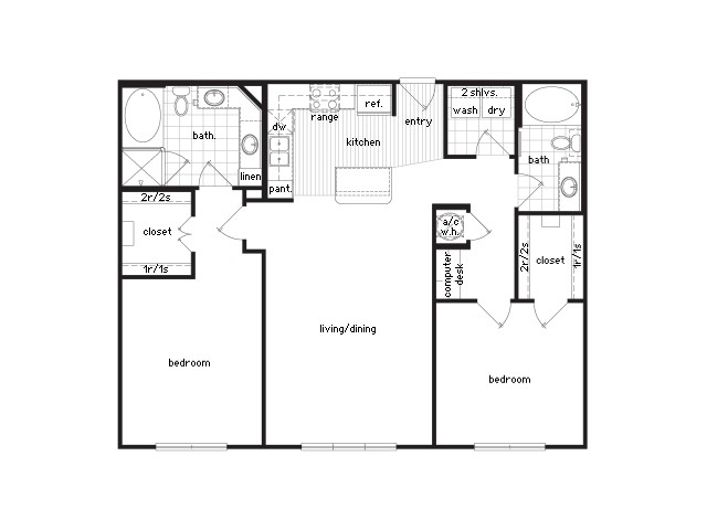 1,222 sq. ft. B2 floor plan