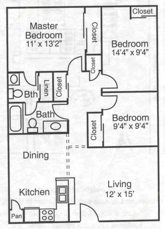 962 sq. ft. 50% floor plan