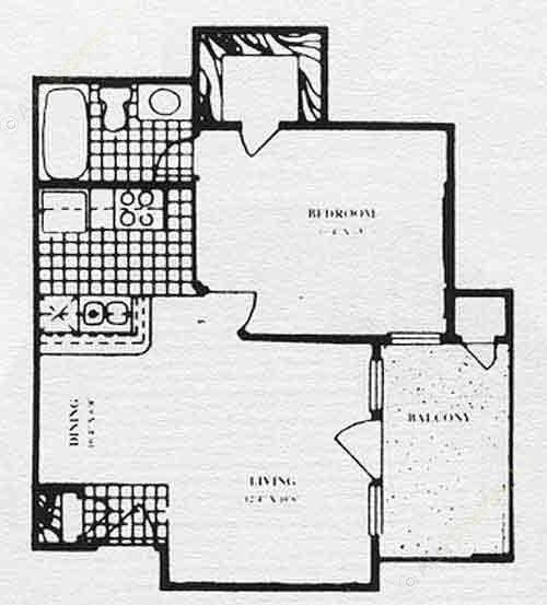 512 sq. ft. A1 floor plan