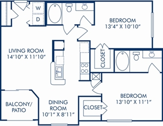 1,018 sq. ft. E floor plan