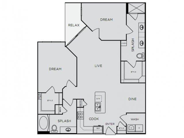1,273 sq. ft. C2alt/C2alt4 floor plan