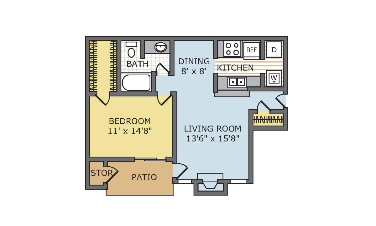 741 sq. ft. Albany floor plan