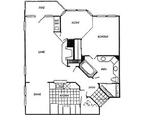 1,008 sq. ft. Chambree/Calais floor plan