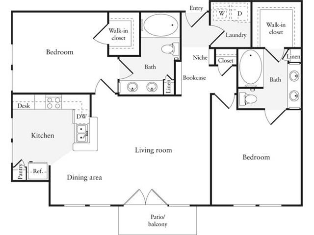 1,128 sq. ft. B4 floor plan