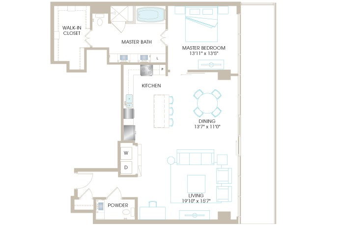 1,282 sq. ft. A8aP floor plan