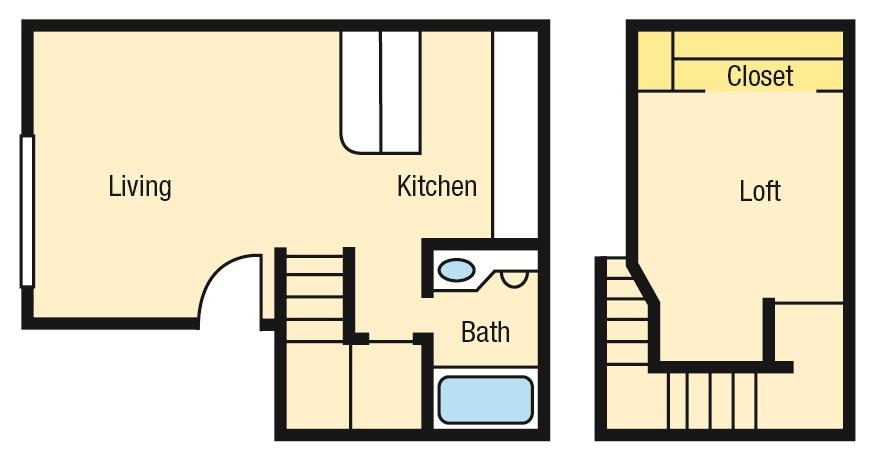 610 sq. ft. B1 floor plan