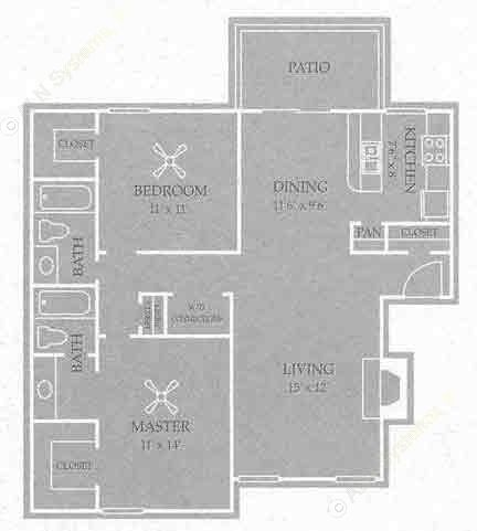 1,020 sq. ft. Liberty floor plan