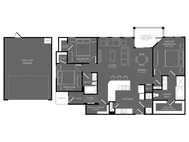 1,498 sq. ft. Tiaga floor plan