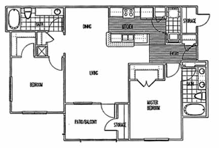1,030 sq. ft. B1 PH I floor plan