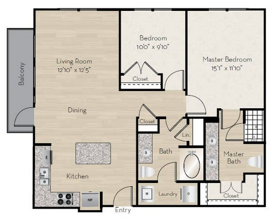 1,118 sq. ft. B2 floor plan