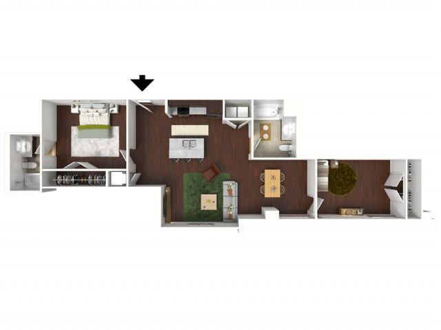 1,010 sq. ft. Cyan floor plan