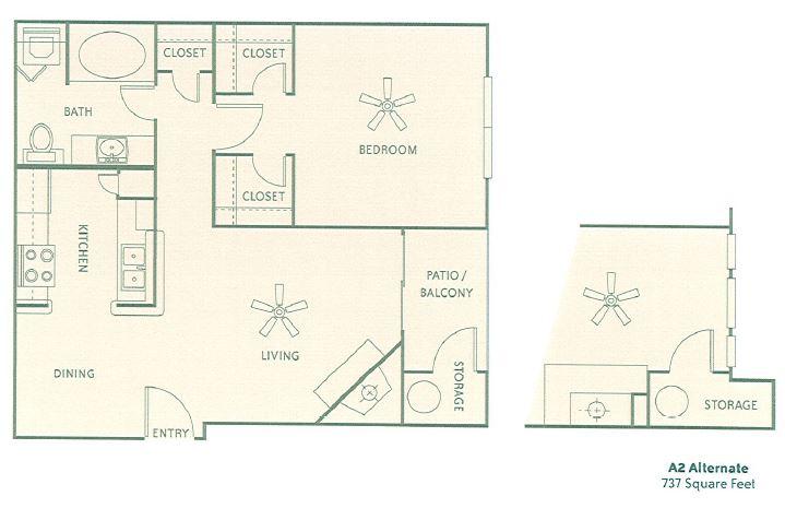 737 sq. ft. AG floor plan