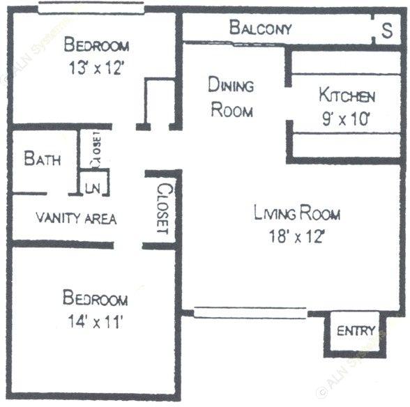 929 sq. ft. floor plan