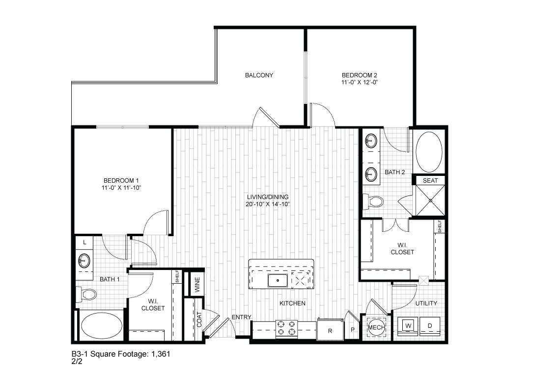 1,201 sq. ft. B3-1 floor plan