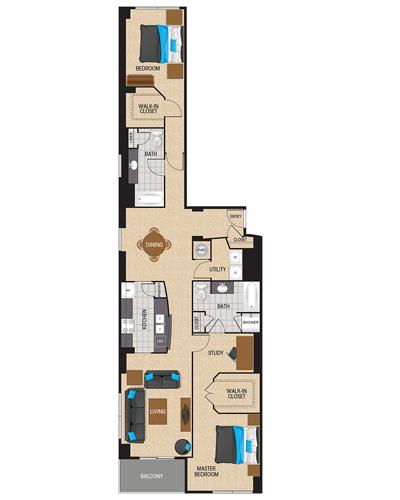 1,629 sq. ft. to 1,691 sq. ft. Cobalt floor plan