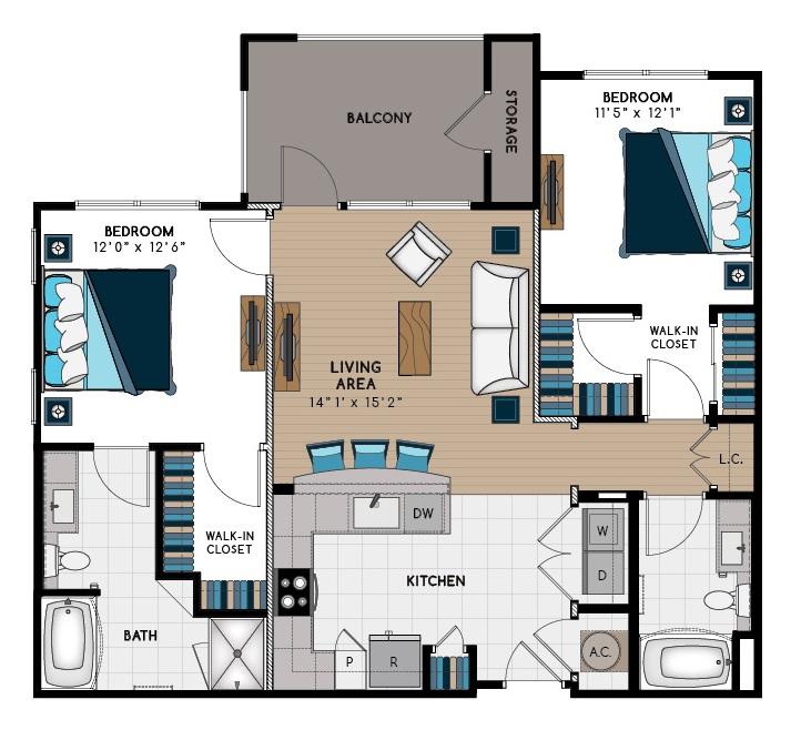 1,117 sq. ft. 2A1 floor plan