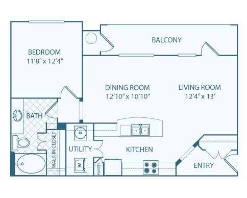 843 sq. ft. to 849 sq. ft. A1B floor plan