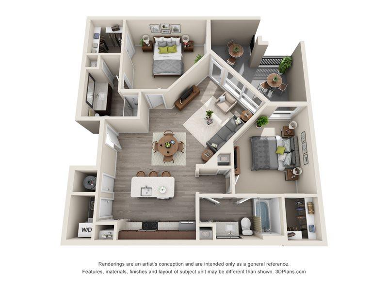 1,047 sq. ft. B1 floor plan