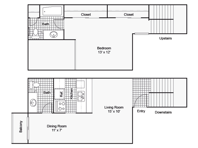 775 sq. ft. I A-5 floor plan