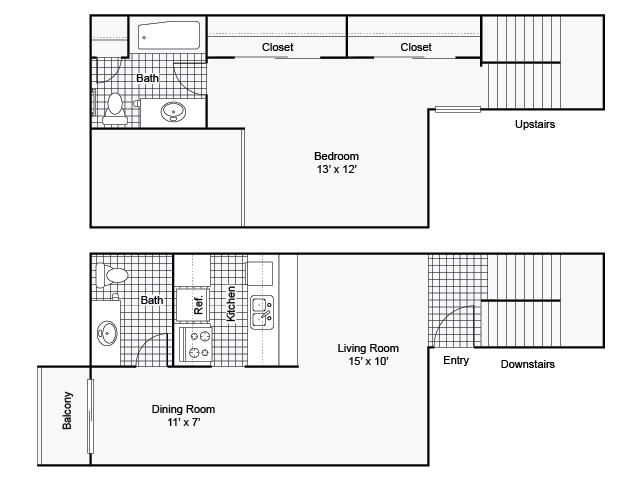 775 sq. ft. I A-5 floor plan
