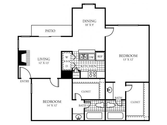 965 sq. ft. F floor plan