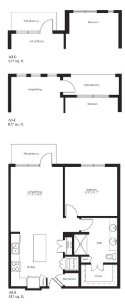 877 sq. ft. A3E floor plan
