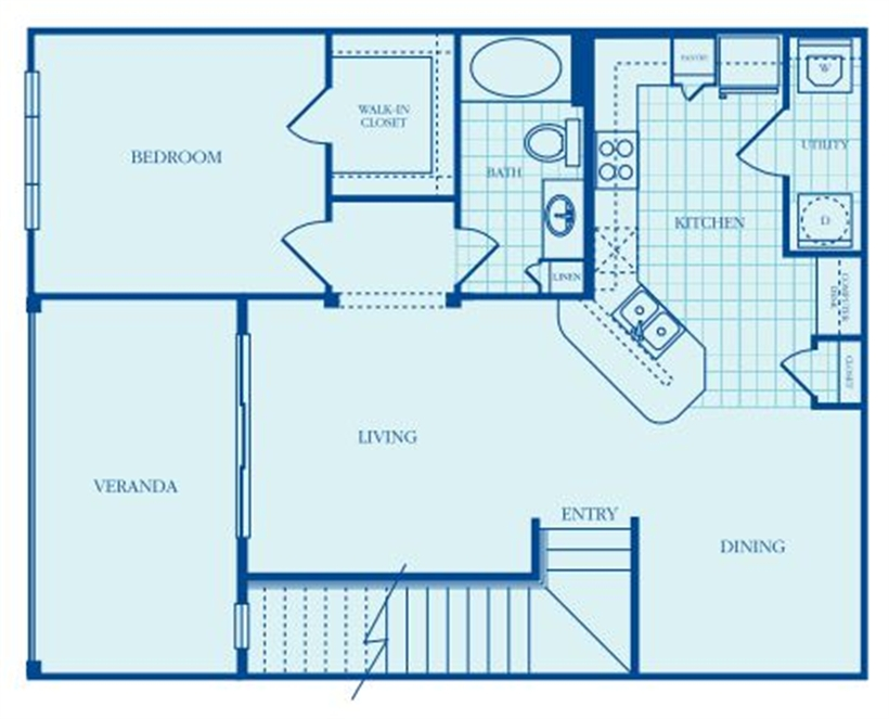 956 sq. ft. Casswell floor plan