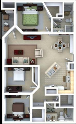 1,368 sq. ft. Rosemary floor plan