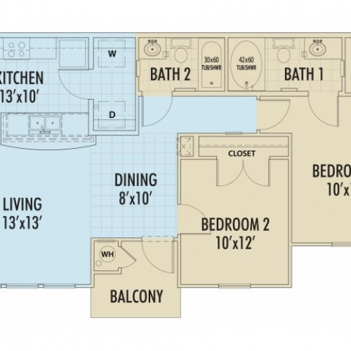 892 sq. ft. CIPRES/60% floor plan