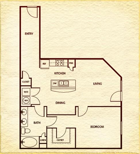 821 sq. ft. A41 floor plan