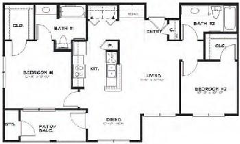 987 sq. ft. floor plan